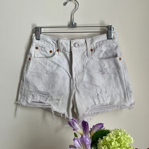 Levi's White Distressed Jean Shorts w Gold Accents